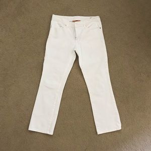 Tory Burch cropped white jeans with gold hardware